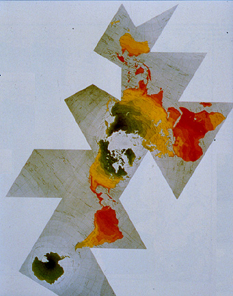 Fuller map projection: cut and assemble globe